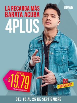 ¡La Recarga 4 PLUS más barata aCuba! Del 15 de septiembre al 25 de septiembre ¡en Cuba recibirán 2000 CUP!