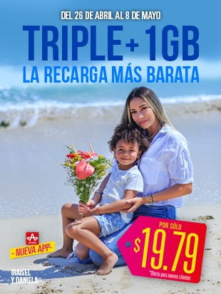 ¡Feliz día Mamá! ¡La Recarga Triple con Datos más barata aCuba! ¡En Cuba recibirán 1500 CUP + 1 GB!